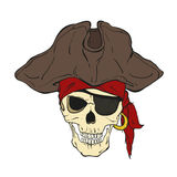 Κρανίο πειρατών με το μπάλωμα καπέλων και ματιών Διανυσματική απεικόνιση