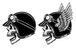 Κρανίο ποδηλατών στο φτερωτό κράνος δρομέων Στοιχείο σχεδίου για το λογότυπο, ετικέτα, έμβλημα, σημάδι, αφίσα, μπλούζα, έμβλημα διανυσματική απεικόνιση