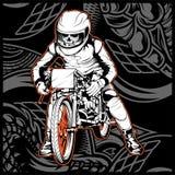 Κρανίο που οδηγά μια μοτοσικλέτα έτοιμη για τη φυλή διανυσματική απεικόνιση