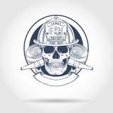 Κρανίο πυροσβεστών σκίτσων διανυσματική απεικόνιση