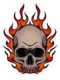 Κρανίο στην πυρκαγιά με την απεικόνιση φλογών στο άσπρο υπόβαθρο ελεύθερη απεικόνιση δικαιώματος