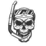 Κρανίο στη μάσκα κατάδυσης απεικόνιση αποθεμάτων