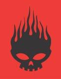 Κρανίο στο διανυσματικό σχέδιο Clipart πυρκαγιάς Στοκ Εικόνες