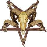 Κρανίο Aries bighorn και αναστρεμμένος pentagram Στοκ Φωτογραφία
