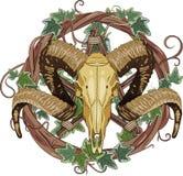 Κρανίο Aries bighorn και pentagram Στοκ εικόνες με δικαίωμα ελεύθερης χρήσης