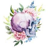 Κρανίο Watercolor με τα λουλούδια ελεύθερη απεικόνιση δικαιώματος