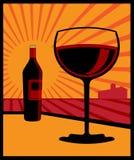 κρασί γυαλιού μπουκαλι διανυσματική απεικόνιση