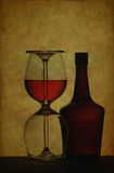 κρασί γυαλιών μπουκαλιών Στοκ Φωτογραφία