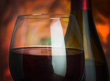 Κρασί, γυαλί και το μπουκάλι Στοκ Εικόνα