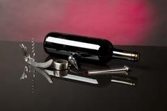 κρασί γυαλιού μπουκαλιών Στοκ Εικόνες