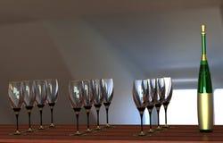 κρασί γυαλιών μπουκαλιών Στοκ Εικόνες