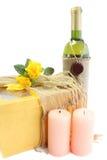 κρασί δώρων κεριών Στοκ Εικόνες
