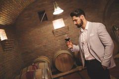 Κρασί επιθεώρησης Winemaker στο υπόγειο Στοκ εικόνες με δικαίωμα ελεύθερης χρήσης
