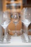 κρασί εστιατορίων γυαλιών Στοκ Εικόνες