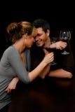 κρασί εστιατορίων ζευγών Στοκ εικόνες με δικαίωμα ελεύθερης χρήσης
