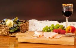 κρασί ζαμπόν καρπού γευμάτ&omega Στοκ Εικόνες