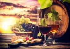 Κρασί και τυρί στοκ εικόνες