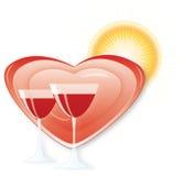 κρασί καρδιών Στοκ Εικόνες