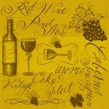 Κρασί με την καλλιγραφία Στοκ φωτογραφία με δικαίωμα ελεύθερης χρήσης