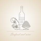 Κρασί με τις λιχουδιές θάλασσας απεικόνιση αποθεμάτων