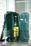 κρασί μπουκαλιών τσαντών tote Στοκ Φωτογραφία