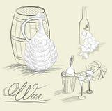 κρασί σκίτσων Στοκ εικόνα με δικαίωμα ελεύθερης χρήσης