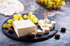 Κρασί, σταφύλι και τυρί Στοκ Εικόνα