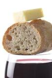 κρασί τυριών ψωμιού Στοκ Εικόνες