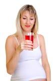 κρατά τη έγκυο γυναίκα χυ&m Στοκ Εικόνες