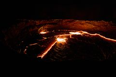 Κρατήρας ηφαιστείων αγγλικής μπύρας Erta πανοράματος, λειώνοντας λάβα, κατάθλιψη Danakil, Αιθιοπία Στοκ εικόνα με δικαίωμα ελεύθερης χρήσης
