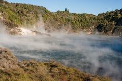Κρατήρας ηχούς και τηγανίζοντας παν λίμνη σε Rotorua Στοκ Εικόνες