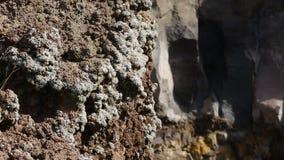 Κρατήρας του Βεζούβιου με το σταθεροποιημένο μάγμα που μετατρέπεται σε αιχμηρούς ηφαιστειακούς βράχους ανακούφισης φιλμ μικρού μήκους