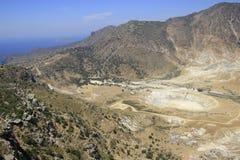 Κρατήρας του ηφαιστείου στο νησί Nisyros Στοκ Εικόνα