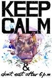 Κρατήστε ήρεμος Απεικόνιση Hippopotamus watercolorr διανυσματική απεικόνιση