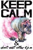 Κρατήστε ήρεμος Απεικόνιση Hippopotamus watercolorr απεικόνιση αποθεμάτων