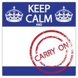 Κρατήστε ήρεμος και συνεχίστε την αυτοκόλλητη ετικέττα Στοκ φωτογραφία με δικαίωμα ελεύθερης χρήσης