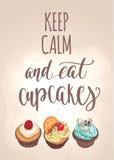 Κρατήστε ήρεμος και φάτε cupcakes διανυσματική απεικόνιση