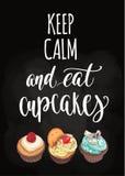 Κρατήστε ήρεμος και φάτε cupcakes ελεύθερη απεικόνιση δικαιώματος