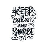 Κρατήστε ήρεμος και χαμόγελο απεικόνιση αποθεμάτων