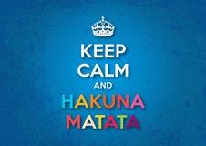 Κρατήστε ήρεμος και Hakuna Matata Στοκ εικόνα με δικαίωμα ελεύθερης χρήσης