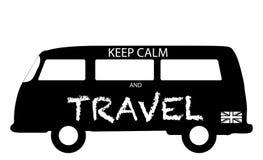 Κρατήστε ήρεμος και Travel Camper Van Silhouette Στοκ εικόνα με δικαίωμα ελεύθερης χρήσης