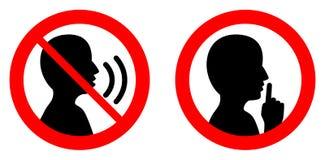 Κρατήστε ήρεμος/σιωπηλός παρακαλώ υπογράφει Διασχισμένα ομιλία προσώπων/Shhh ι απεικόνιση αποθεμάτων