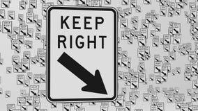 Κρατήστε τα σωστά σημάδια κυκλοφορίας στο κενό άσπρο διάστημα ελεύθερη απεικόνιση δικαιώματος