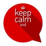 Κρατήστε την ήρεμη κόκκινη φυσαλίδα συζήτησης Το κινητήριο απόσπασμα και κρατά την ήρεμη κορώνα Κενό πρότυπο Επίπεδο σχέδιο ύφους Στοκ φωτογραφία με δικαίωμα ελεύθερης χρήσης