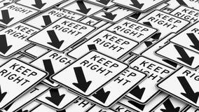 Κρατήστε το σωστό σωρό σημαδιών κυκλοφορίας απεικόνιση αποθεμάτων