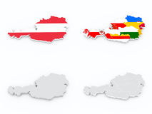 Κρατικές σημαίες της Αυστρίας στον τρισδιάστατο χάρτη Στοκ φωτογραφίες με δικαίωμα ελεύθερης χρήσης
