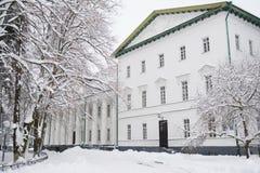 Κρατική πανεπιστημιούπολη Gogol - Nizhyn, Ουκρανία τον όμορφο παγωμένο χειμώνα και το καλυμμένο χιόνι Στοκ εικόνα με δικαίωμα ελεύθερης χρήσης