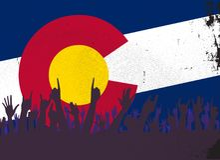 Κρατική σημαία του Κολοράντο με την αντίδραση ακροατηρίων ελεύθερη απεικόνιση δικαιώματος