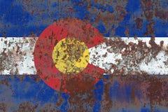 Κρατική grunge σημαία του Κολοράντο, Ηνωμένες Πολιτείες της Αμερικής στοκ εικόνα με δικαίωμα ελεύθερης χρήσης