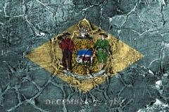Κρατική grunge σημαία του Ντελαγουέρ, Ηνωμένες Πολιτείες της Αμερικής στοκ φωτογραφία